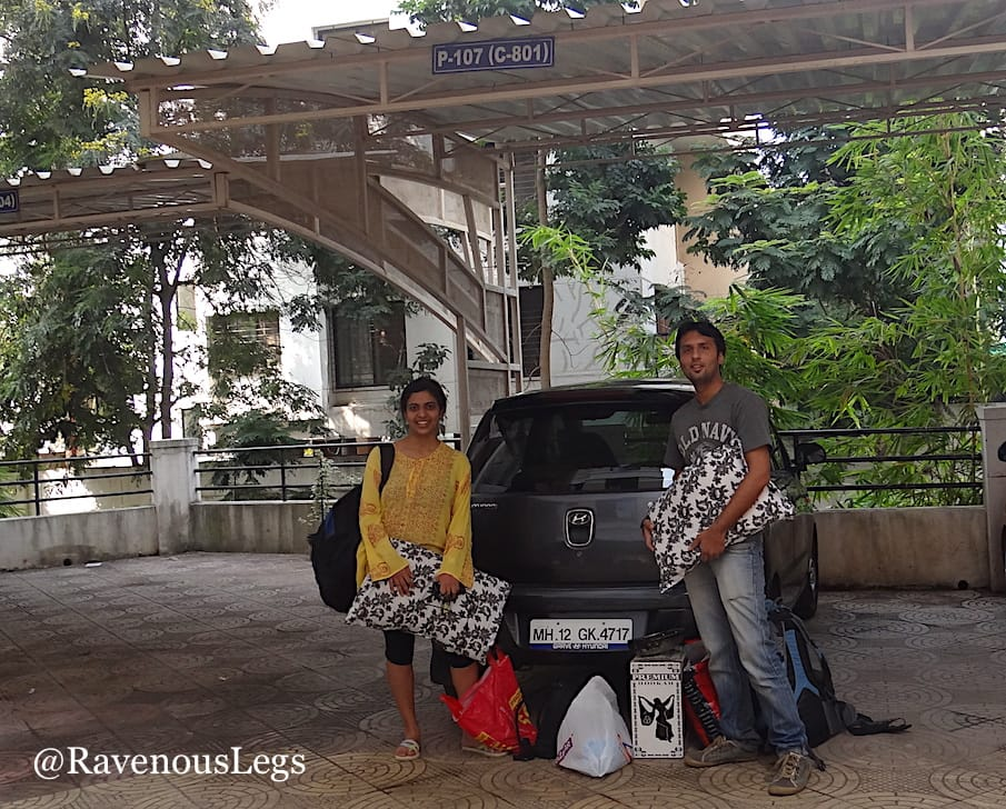 Loading my car for the trip to Konkan beaches