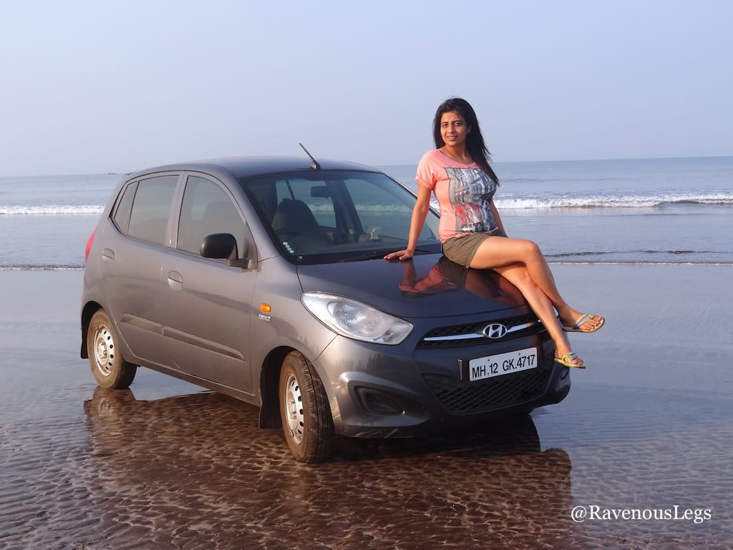 Driving my car on Dapoli beach