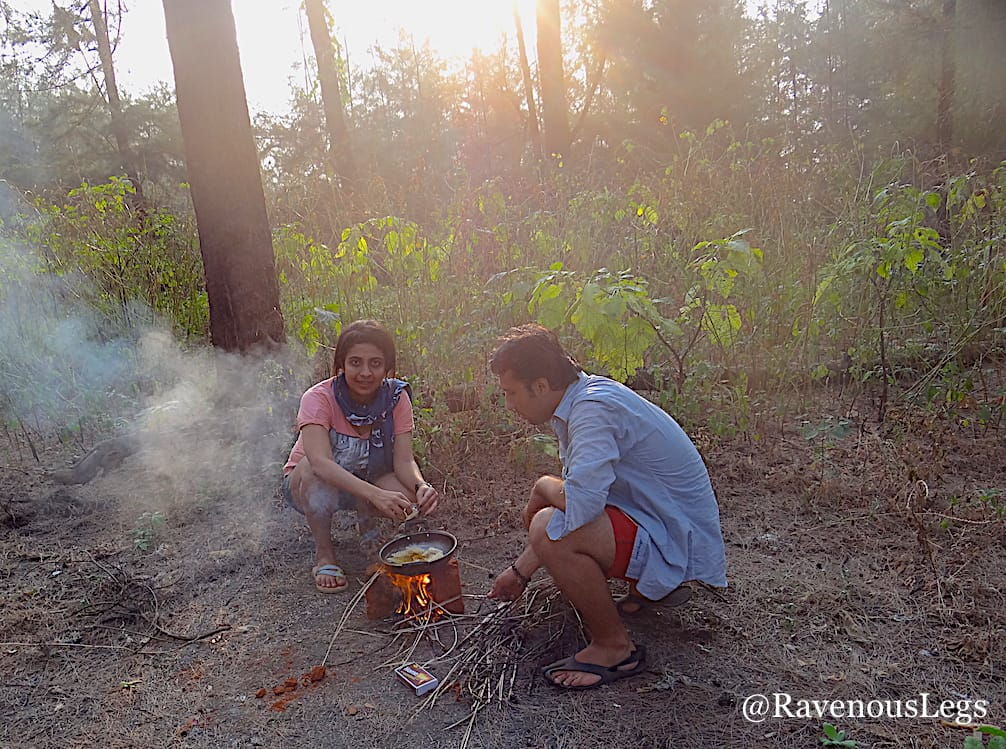 Cooking maggi on self made fire place in the woods near the beach