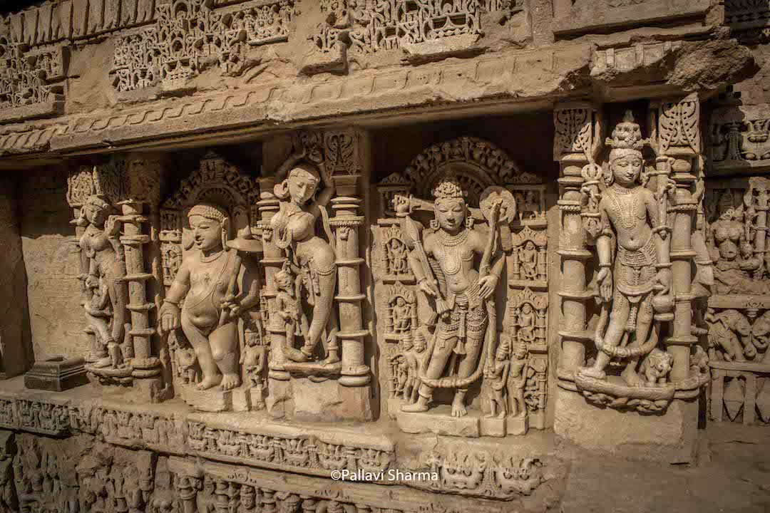 Parashurama, Budda and other forms of Vishnu surronded by apsaras