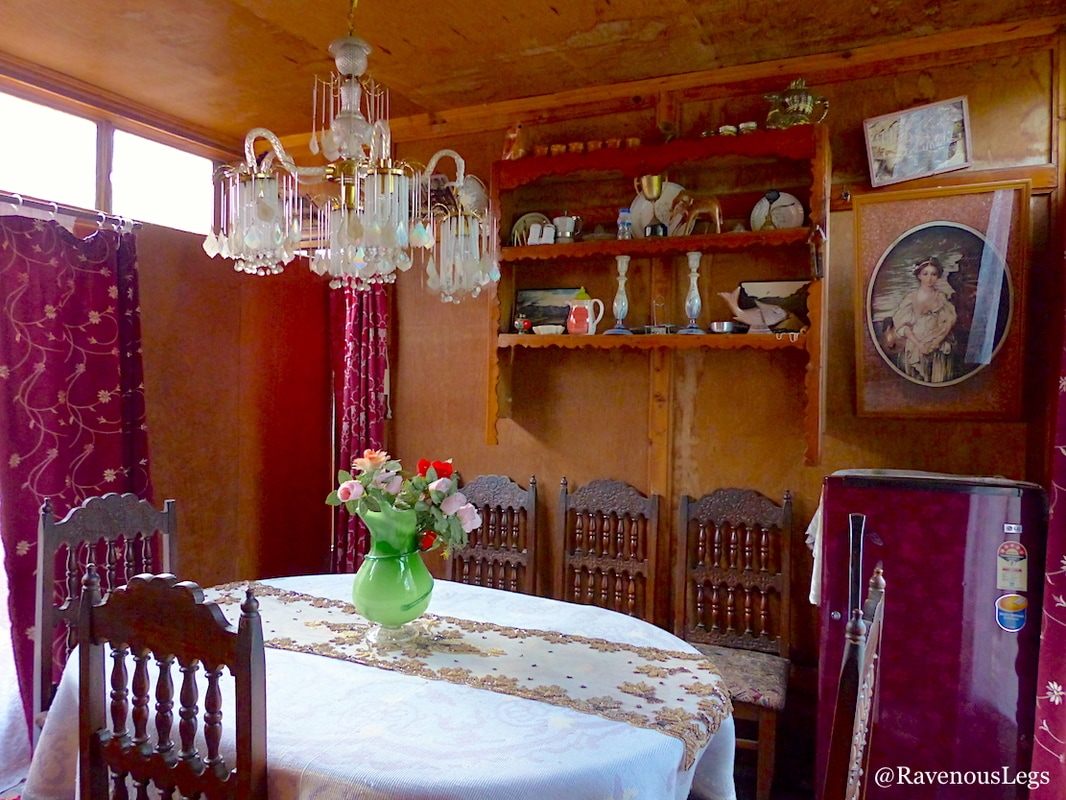 Dining room in houseboat on dal lake, kashmir