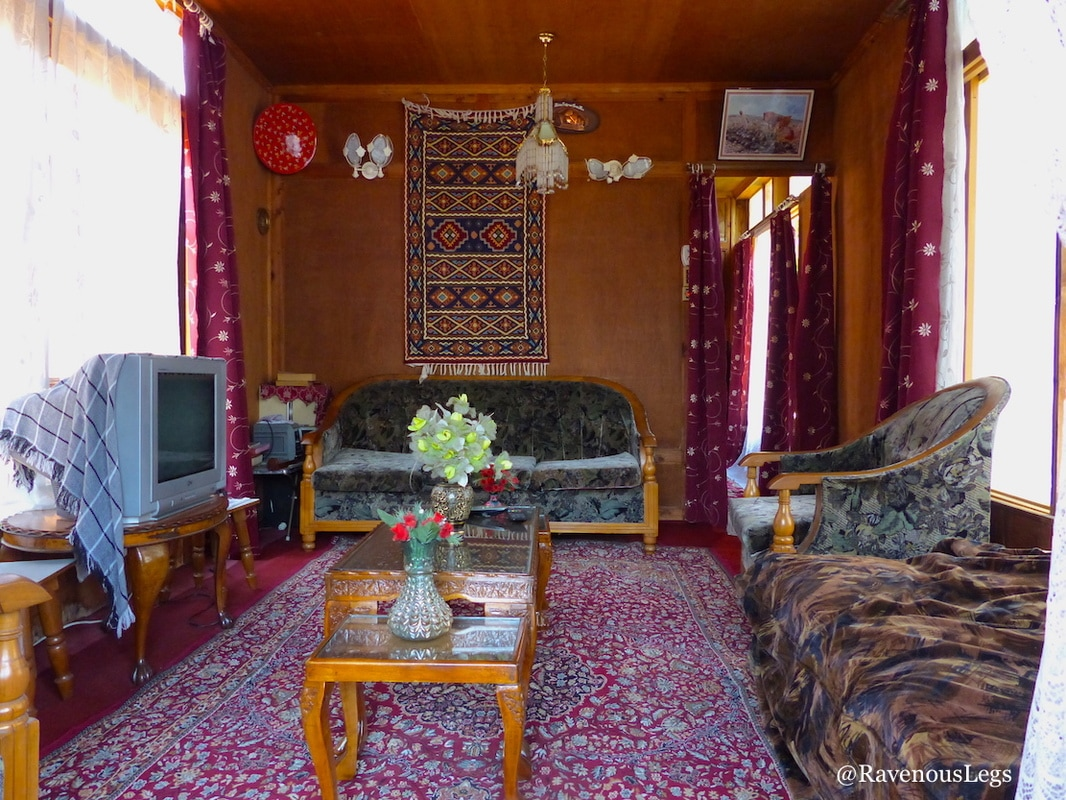 drawing room in houseboat on dal lake, kashmir