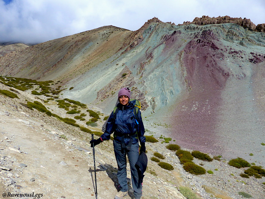 Purple and Teal green coloured mountains on way to GandaLa - Markha Valley trek in Ladakh