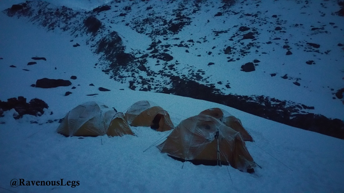Frosted tents at Rudragaira BC on Auden's Col Trek