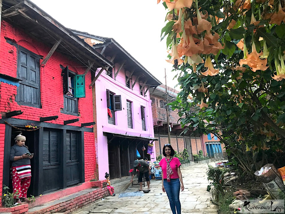 Houses with Newari architecture in Bandipur, Nepal