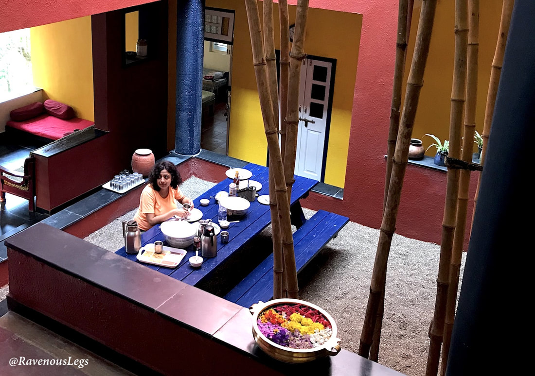 Dining in courtyard at Native Place, Kamshet
