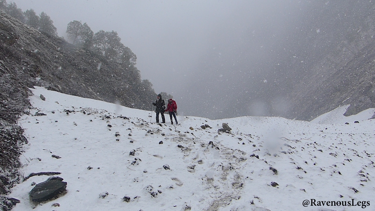 The glaciers and snowfall near Nala Campsite on Auden's Col trek