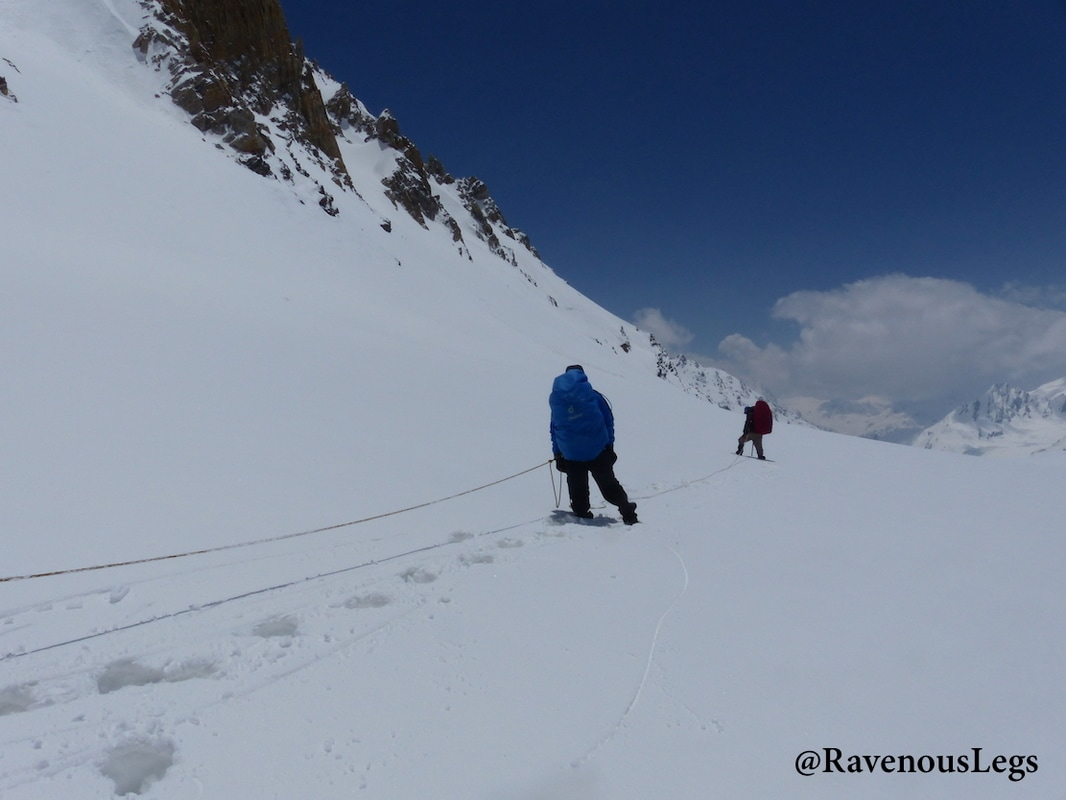 Trekking on Khatling glacier after Auden's Col
