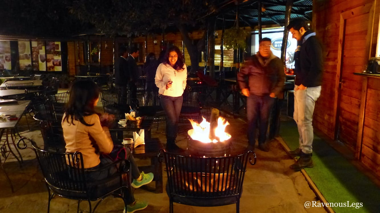 Bonfire at the bar and alfresco dining at Aamod at Shoghi
