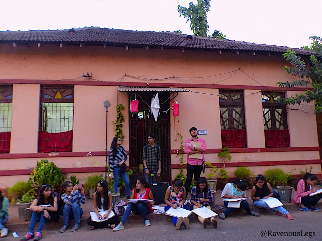 Architecture students on the streets in Fontainhas, Goa
