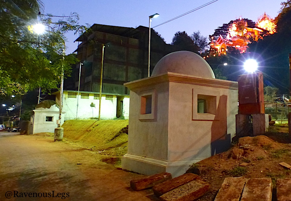 Maruti temple, tombs and tunnel with cross in Fontainhas, Goa