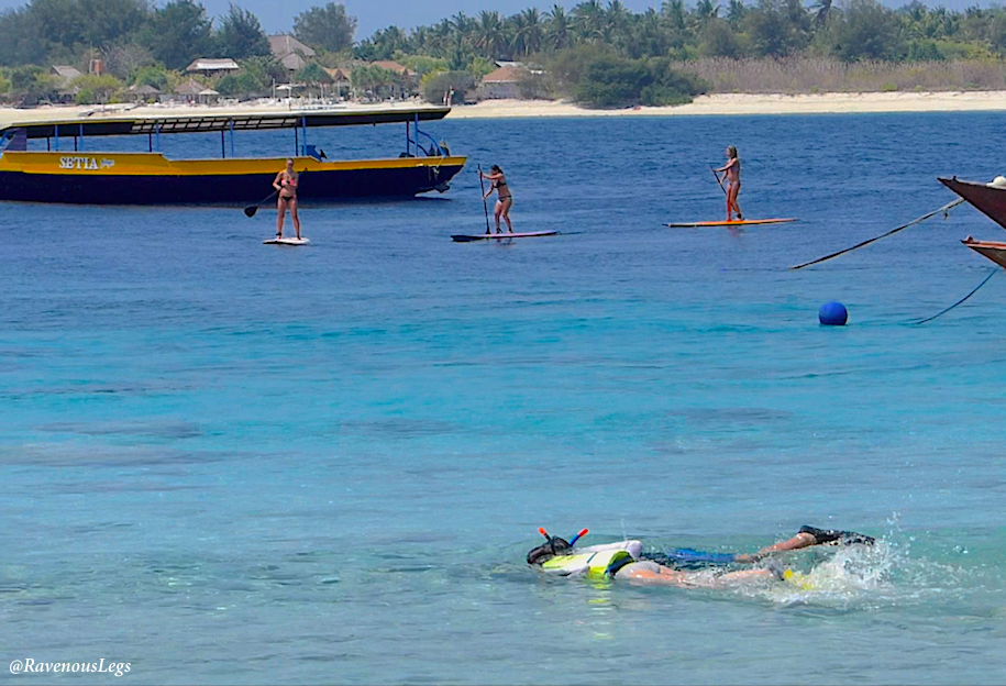 Stand Up Paddle Boarding and snorkelling in Gili Trawangan Island, Indonesia