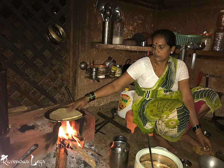 Traditional mud-stove (chool) in konkani kitchen at Maachli farmstay